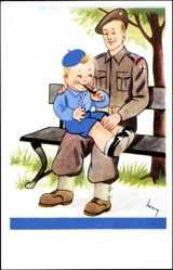 Künstler Ak Irischer Soldat mit einem Jungen auf dem Schoß