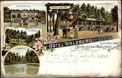 Litho Ahrensburg Kreis Stormarn, Hotel Waldburg Pension, Hermann Lampe