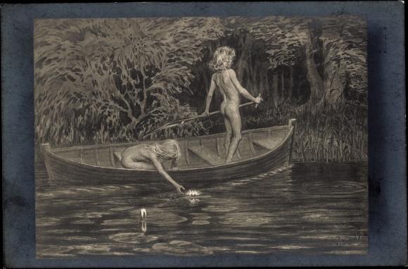 Artist Postcard Fidus Nr 50 Wasserrosen Nackte Akpoolcouk
