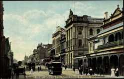 Postcard Brisbane Queensland Australien, Queen Street, showing Post Office Clocks,Tram