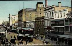 Postcard Brisbane Queensland Australien, Queen Street, showing Courier Corner, Tram