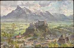 Künstler Ak Compton, Salzburg Stadt Österreich, Hohensalzburg, Untersberg