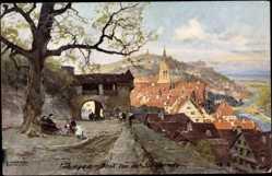 Künstler Ak Compton, Harrison E., Tübingen am Neckar, Blick v.d. Schlosslinde