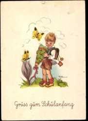 Künstler Ak Lauterborn, Liesel, Glückwunsch Einschulung, Schmetterlinge