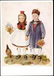 Künstler Ak Thielmann, Marianne, Die Gratulanten, Hessische Trachten