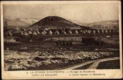 Postcard Mazedonien, La Guerre Européenne, Landschaft, Zelte, Berg