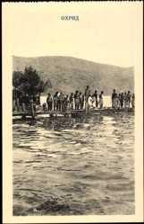 Postcard Ohrid Mazedonien, Kinder beim Schwimmen, Steg