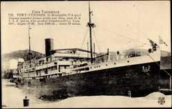 Postcard Port Vendres, Cote Vermeille, Paquebot Mustapha II à quai