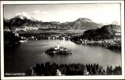 Postcard Bled Slowenien, Gesamtansicht des Ortes mit Bleder See