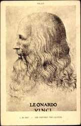 Künstler Ak Leonardo da Vinci, Selbstportrait, Profil links