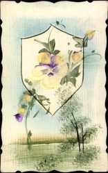 Handgemalt Passepartout Ak Weiße Blüten, Landschaftsidyll