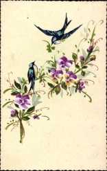 Handgemalt Ak Zwei Vögel, Bunte Blüten, Ast, Kleeblatt, Kitsch
