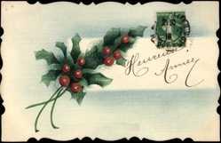 Handgemalt Ak Glückwunsch Neujahr, Heureuse Année, Stechpalmenblätter