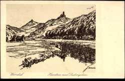 Künstler Ak Ubbelode, Otto, Bornhagen Kreis Eichsfeld, Jugendburg Ludwigstein