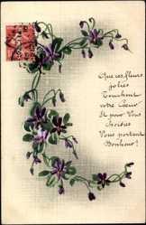 Handgemalt Ak Blumenverzierung mit lila Blüten