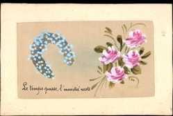 Seiden Ak Handgemalte Rosen, Hufeisen