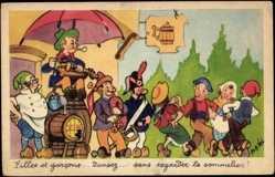 Künstler Ak Vel, Rob, Fillets et garcons...Bier, Tanzende, Musizierende