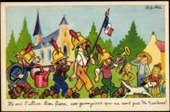 Künstler Ak Vel, Rob, Feuerwehrmänner laufen musizierend durch den Ort