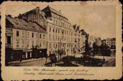 Postcard Lwów Lemberg Ukraine, Akademische Straße und Handelskammer