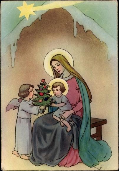 Frohe Weihnachten Jesus.Postcard Frohe Weihnachten Jesus Mit Maria Engel Akpool
