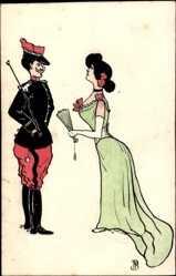 Handgemalt Ak Frankreich, Liebespaar, Uniformierter, Frau in grünem Kleid