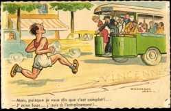 Künstler Ak Chaperon, Jean, Mann läuft einem Bus hinterher, Streckenläufer