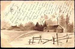 Handgemalt Ak Landschaftsidyll auf dem Land, Wohnhaus