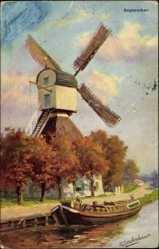 Künstler Ak Gerstenhauer, September, Herbst, Alte Windmühle am Wasser