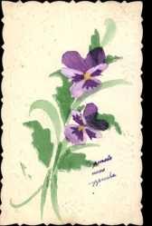 Handgemalt Präge Ak Blumenstrauß, Violette Blüten, Frankreich