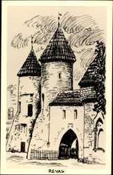 Künstler Ak Tallinn Reval Estland, Blick auf eine Burg