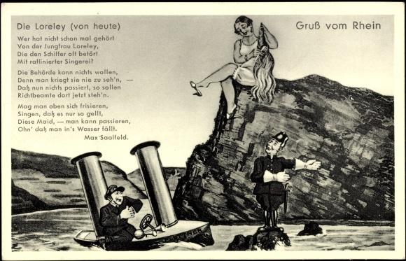 Artist Postcard Die Loreley Felsen Rhein Schiff Akpool