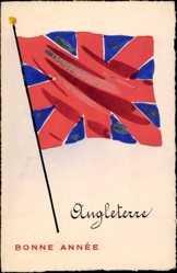 Handgemalt Ak Glückwunsch Neujahr, Angleterre, Großbritannien, Fahne