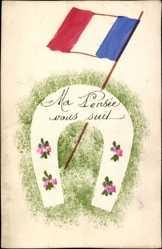 Handgemalt Ak Ma Pensée vous suit, Hufeisen, Französische Fahne