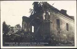 Postcard Holobutów Ukraine, Hinteransicht der Zerschossenen Kirche