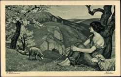 Künstler Ak Liebermann, Ernst, Hirtin, Junges Mädchen mit ihren Schafen