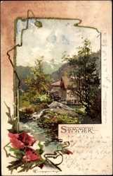 Künstler Litho Tuggenberger, Sommer, Allegorie, Mohn, Wassermühle