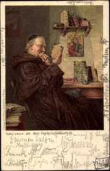 Künstler Litho Grützner, In der Geheimbibliothek, Mönch, Marienbild