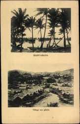 Ansichtskarte / Postkarte Hanuabada Papua Neuguinea, vue générale du Village sur pilotis