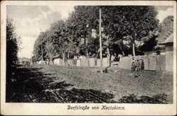 Postcard Kociubince Ukraine, Dorfstraße, Kinder, Gebäude