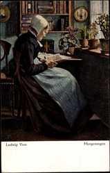 Künstler Ak Voss, Ludwig, Morgensegen, Alte Frau liest ein Buch