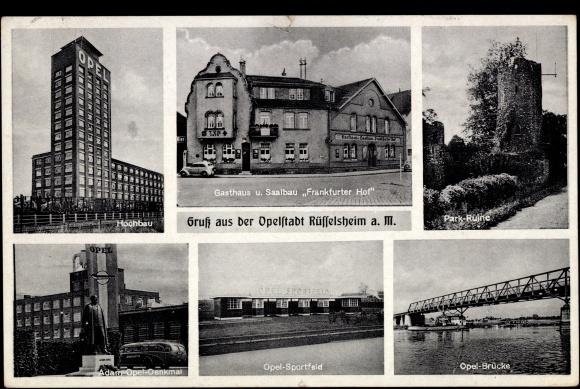 ansichtskarte postkarte r sselsheim am main gasthaus frankfurter hof elly hake opel. Black Bedroom Furniture Sets. Home Design Ideas