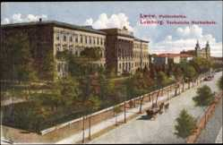 Postcard Lwów Lemberg Ukraine, Politechnika, Technische Hochschule, Straßenbahn