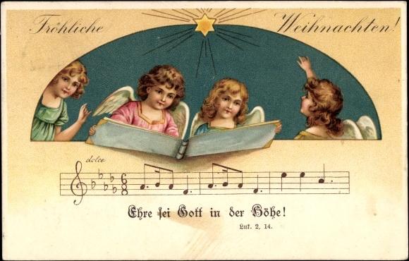 song postcard frohe weihnachten engel singen ehre sei. Black Bedroom Furniture Sets. Home Design Ideas