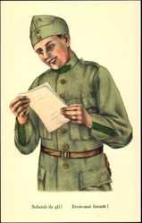 Künstler Ak Gautschi, R., Schweizer Soldat liest einen Brief