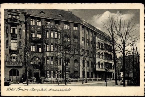 ansichtskarte postkarte berlin charlottenburg hotel pension steinplatz uhlandstra e 197. Black Bedroom Furniture Sets. Home Design Ideas