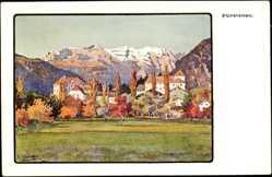 Künstler Ak Christoffer, A., Fürstenau Kt. Graubünden, Panorama