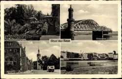 Postcard Riesa, Rathausfreitreppe, Elbbrücke, Rasthaus mit Klosterkirche, Elbe