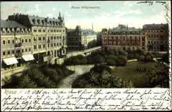 Postcard Riesa an der Elbe, Parkanlagen am Kaiser Wilhelmplatz