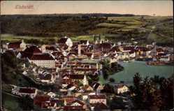 Postcard Eichstätt, Blick auf den Ort, Kirche, Gewässer, Felder, Wald