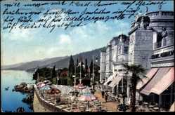 Postcard Opatija Abbazia Kroatien, Caffée Cursaal, Meeresblick